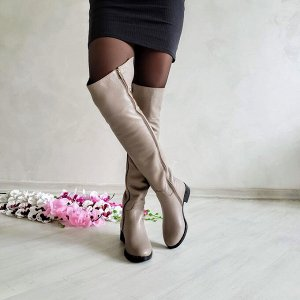 Бежевые кожаные высокие сапоги Luxury