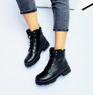 Черные кожаные ботинки SHANS  на черной подошве