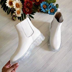 Белые кожаные ботинки CHELSEA ICE