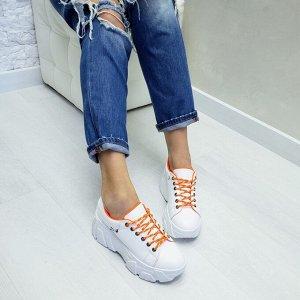 Белые кожаные кроссовки COSMOS с оранжевой подкладкой