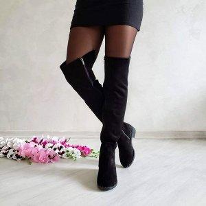 Черные замшевые высокие сапоги Luxury