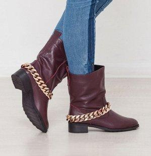 Бордовые кожаные ботинки декорированные цепью