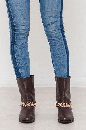 Кожаные ботинки декорированные цепью цвета шоколад