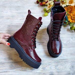 Бордовые кожаные ботинки Woodstock