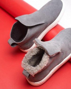 Серые замшевые слипоны ANKLE SLIP
