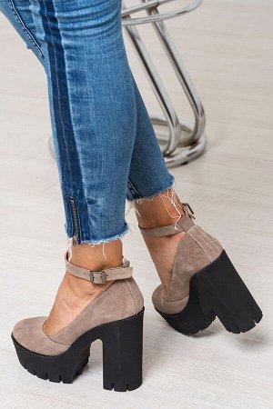 Бежевые замшевые туфли Mary Jane