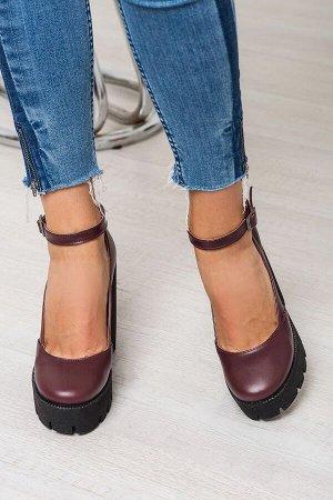 Бордовые кожаные туфли Mary Jane