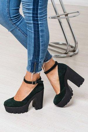 Зеленые замшевые туфли Mary Jane