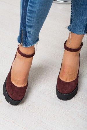 Бордовые замшевые туфли Mary Jane