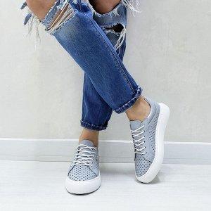 Серо-голубые кожаные кеды BOOMER с перфорацией
