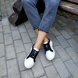 Белые кожаные кеды COLOR со вставками черной замши