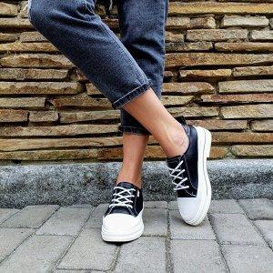 Черные кожаные кеды FUSTA со вставками белой кожи