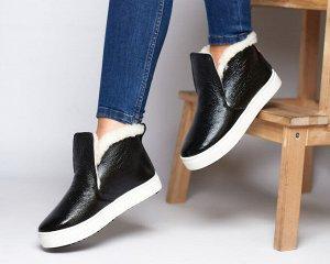 Черные кожаные слипоны ANKLE SLIP