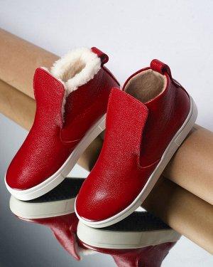Красные кожаные слипоны ANKLE SLIP