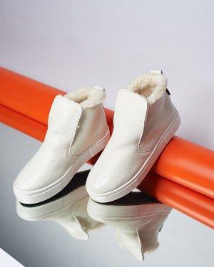 Кожаные слипоны ANKLE SLIP молочного цвета