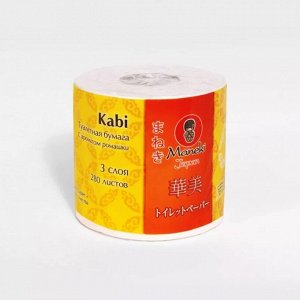 "Бумага туалетная ""Maneki"", серия Kabi, 3 слоя, 280 л., 39.2 м, с ар. Ромашки 1 РУЛОН"