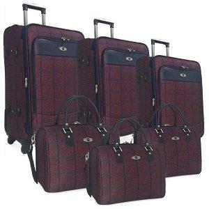 Комплект чемоданов Borgo Antico. 6093 bordo komplekt. 4 съёмных колеса.