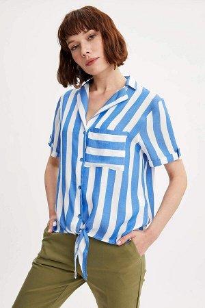 Рубашка полосатая на завязочках