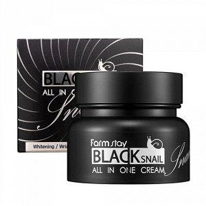 Крем с муцином черной улитки FARMSTAY Black Snail All In One Cream, 100мл