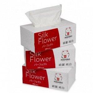 "Салфетки в коробке  ""INSHIRO"" SilkFlower   2-х. сл. белые  (3*250 шт.)"