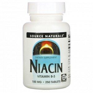 Source Naturals, Ниацин, 100 мг, 250 таблеток