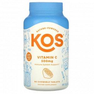KOS, Vitamin C, Orange Flavor, 500 mg, 90 Chewable Tablets