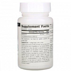 Source Naturals, Витамин D-3, 2000 международных единиц, 200 мягких капсул