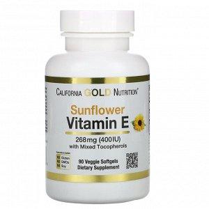 California Gold Nutrition, Витамин E из подсолнечника со смешанными токоферолами, 400 МЕ, 90 растительных мягких таблеток
