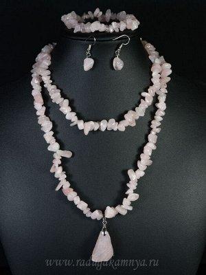 Бусы из розового кварца крошка с подвеской, браслет, серьги, 82см