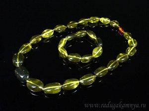 Набор из янтаря бусы и браслет галтовка 16*25мм зеленый, 52см