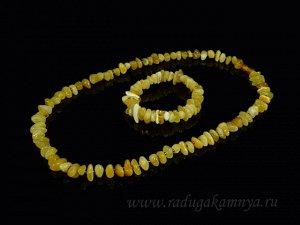 Набор из янтаря бусы и браслет крошка молочно-медовый, 55см
