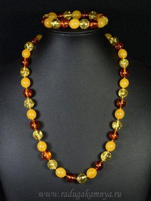 Набор из янтаря бусы и браслет мятый шарик 11-12мм лимонный, медово-молочный, коньячный, 50см