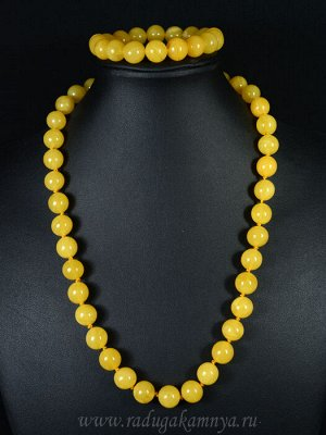 Набор из янтаря бусы и браслет мятый шарик 11-12мм медовый, 50см