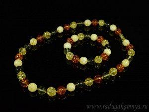 Набор из янтаря бусы и браслет мятый шарик 11мм-12мм лимонный, молочный, зеленый, коньячный, 50см