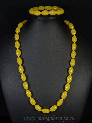 Набор из янтаря бусы и браслет овал 10*16мм медовый, 55см