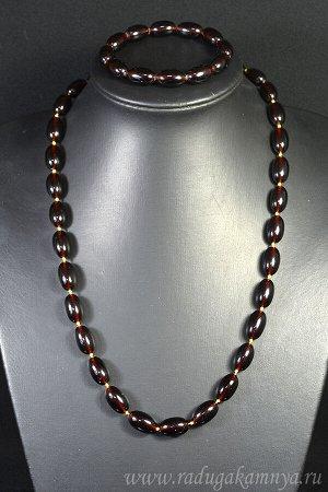 Набор из янтаря бусы и браслет овал 10*16мм т.коньячный, 56см