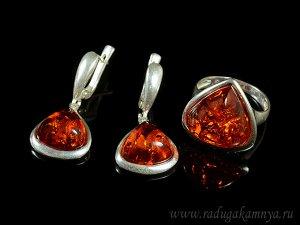Комплект с янтарём в посеребрении кольцо, серьги капелька 16*18мм коньячный, 5,7гр
