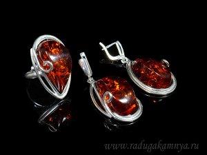Комплект с янтарём в посеребрении кольцо, серьги капелька 22*39мм коньячный, 16,4гр