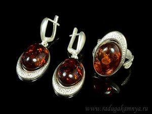 Комплект с янтарём в посеребрении кольцо, серьги овал 16*27мм коньячный, 8,4гр