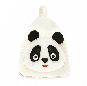 """Шапка банная детская, с аппликацией """"Панда"""", войлок белый"""
