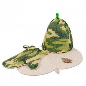 "Набор д/бани""Камуфляж""(шапка, рукавица, коврик)"