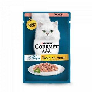 Gourmet Perle Желе Де-люкс влажный корм для кошек Лосось в желе 75гр пауч АКЦИЯ!