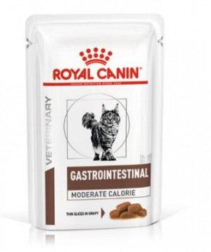Royal Canin Gastro Intestinal Moderate Calorie диета влажный корм для кошек Гастро-интестинанал Модерат Калорие при заболеваниях ЖКТ 85гр пауч