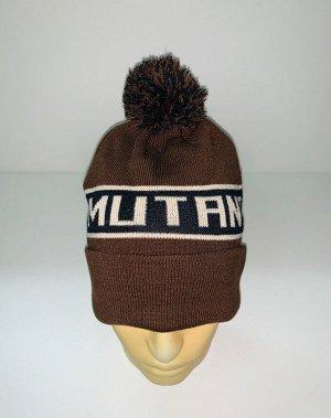 Шапка Коричневая шапка с помпоном и надписью  №4030