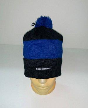 Шапка Черная шапка с синей полосой и помпоном  №4027