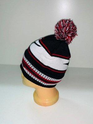 Шапка Привлекательная шапка с полосками и помпоном  №4026