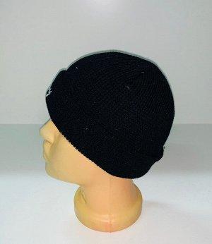 Шапка Угольно-черная шапка с белой надписью  №1923