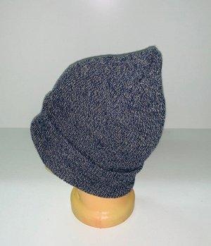Шапка Серо-синяя модная шапка  №1903