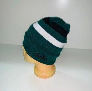 Шапка Зеленая шапка с черной и белой полосой  №4013