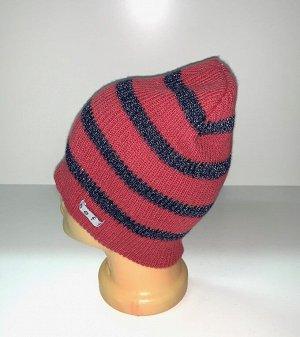 Шапка Красная шапка в темную полоску  №1566